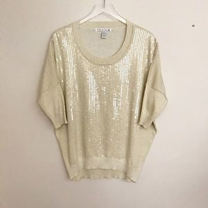 Love by Design cotton knit sequined pullover top S